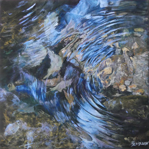 The light passes through the water and we see the stones at the bottom of the stream and the whirlpool they create
